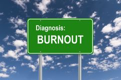 Diagnosis: Burnout sign. Green Diagnosis: Burnout sign against blue sky royalty free illustration