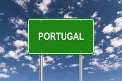 Portugal signpost. Against blue sky stock photo