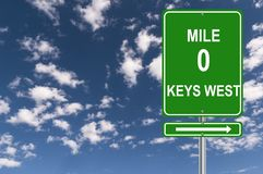 Mile 0 Keys West. Miles 0 Keys West sign against blue sky stock photos