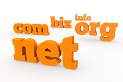 Domains. 3d format with the best-known names Royalty Free Stock Photo