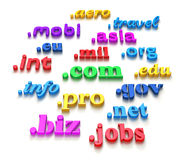 Domains. 3D illustration of top-level domains over white background Stock Images