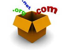 Domains in box. Abstract 3d illustration of box and domains signs Royalty Free Stock Photos