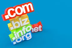 Domains name. On blue background Stock Photography