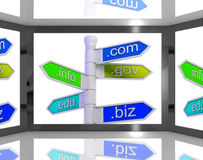 Domains On Screen Showing Internet Domains Royalty Free Stock Photography