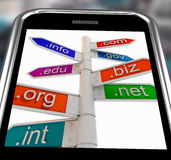 Domains On Smartphone Shows Internet Websites Stock Photo