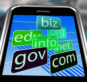 Domains On Smartphone Shows Mobile Internet Access Royalty Free Stock Photos