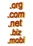 Domains - vector. 3d domain names in white background, vector Royalty Free Stock Image