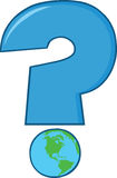 Domanda blu Mark With World Globe Immagine Stock