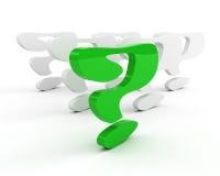 Domanda-contrassegno verde. concetto di direzione illustrazione di stock