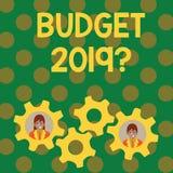 Domanda del bilancio 2019 di rappresentazione del segno del testo Stima concettuale della foto di reddito e di spesa per l'affare illustrazione di stock