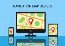 Domanda della mappa di navigazione di dispositivo differente Fotografie Stock Libere da Diritti