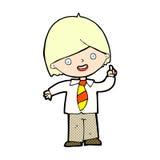 domanda di risposta comica del ragazzo di scuola del fumetto Immagine Stock