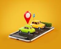 Domanda insolita dello smartphone di OS dell'illustrazione 3d di parcheggio libero di ricerca online sulla mappa Illustrazione Vettoriale
