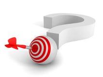 Domanda Mark And Target Dart Arrow Concetto della soluzione di successo Immagine Stock