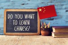 Domanda volete imparare il cinese? fotografia stock libera da diritti