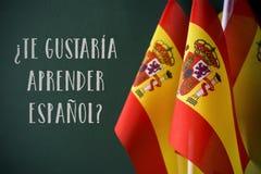 Domanda volete imparare lo Spagnolo, nello Spagnolo fotografie stock libere da diritti