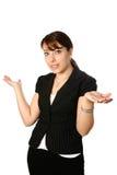 Domandarsi della donna di affari Fotografia Stock