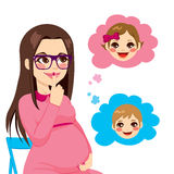Domandarsi della donna incinta Fotografie Stock