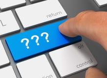 domande che spingono tastiera con l'illustrazione del dito 3d illustrazione vettoriale