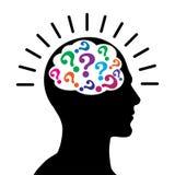 Domande di mente con il cervello della testa del maschio illustrazione di stock