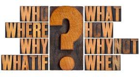 Domande nel tipo di legno dello scritto tipografico Fotografia Stock Libera da Diritti