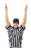 Domare: Fotbollrepresentanten signalerar en landningsögonblick Fotografering för Bildbyråer