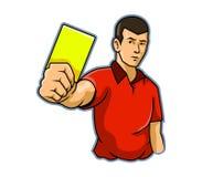 Domare Raise Yellow Card royaltyfri illustrationer