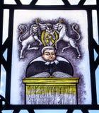 DomareStained Glass Law arkiv Yale University New Haven Connecticut Royaltyfri Bild