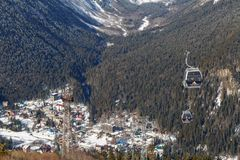 Funiculars and view of the village of Dombay from a height of 2270 m above sea level royalty free stock photos