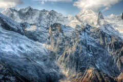 Dombai. Scenery of rockies in Caucasus region in Russia Royalty Free Stock Photography