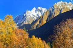 Dombaj summits. This is colorful summits in Caucasus mountains,Dombaj in autumn Stock Photos