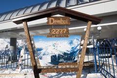 Dombay滑雪胜地滑雪道地图 库存图片