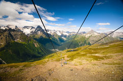 Dombay. Long cableway in Dombay mountain Stock Photo