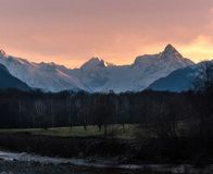 Dombay Mountains in the evening at sunset royalty free stock photography