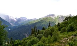 Dombay. The Republic of Karachay-Cherkessia in the North Caucasus, Russia. Photo taken on: July 26 Friday, 2013 Stock Photography