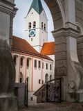 Domberg and Cathedral in Freising. View at the cathedral in the city of Freising seen from a park at the Domberg Stock Images