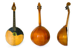 Dombra. Three old musical instruments isolated on a white background Royalty Free Stock Images