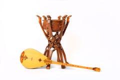 Dombra del instrumento del Kazakh y taikazan nacionales Foto de archivo