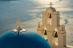 Dome. Famous church dome on the greek island of santorini Royalty Free Stock Images
