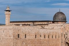 The dome of Al-Aqsa mosque and the Al-Fakhria minaret. The dome of Al-Aqsa mosque (right) and the Al-Fakhria minaret, Jerusalem, Israel Royalty Free Stock Photography