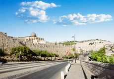 View from a road near the Al Aqsa Mosque in Jerusalem and the Mount of olives Stock Photos
