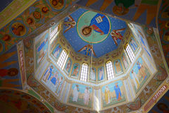 Dome with ancient frescoes Stock Photos