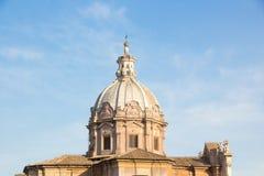 Dome of antique church Santi Luca e Martina Chiesa dei Santi Luca e Martina. Rome, Italy.  stock image