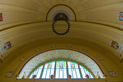 Dome of the Art Nouveau style in the main railway station. Royalty Free Stock Image