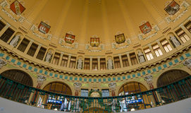 Dome of the Art Nouveau style in the main railway station. Stock Photos