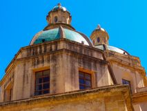 San Francesco. Dome of the baroque church of San Francesco d`Assisi in Trapani, Sicily, Italy stock images