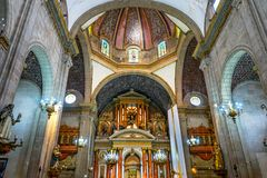 Dome Basilica Altar Santo Domingo Church Mexico City Mexico. Church first built in the 1500s stock images