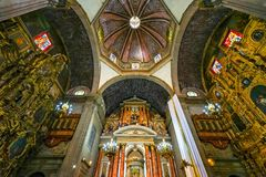 Dome Basilica Altar Santo Domingo Church Mexico City Mexico. Church first built in the 1500s royalty free stock photography