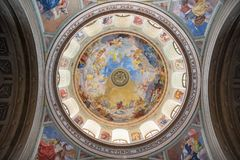 Dome of Basilica of Eger, Hungary. Dome of Basilica of Eger, St John Cathedral in Hungary royalty free stock photos