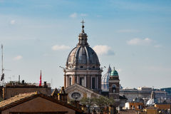 Dome of the Basilica of SS. Ambrose and Charles on the Corso. Rome, Italy Stock Image
